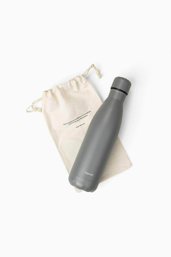 Slim Running Stainless Steel Water Bottle | Sustainable Water Bottle Stone Grey
