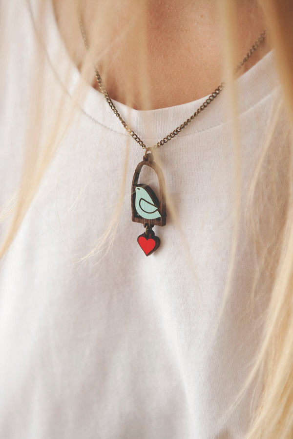 Natural Jewellery Chain & Wooden Necklace Hand-Painted Blue Bird & Love Materia Rica