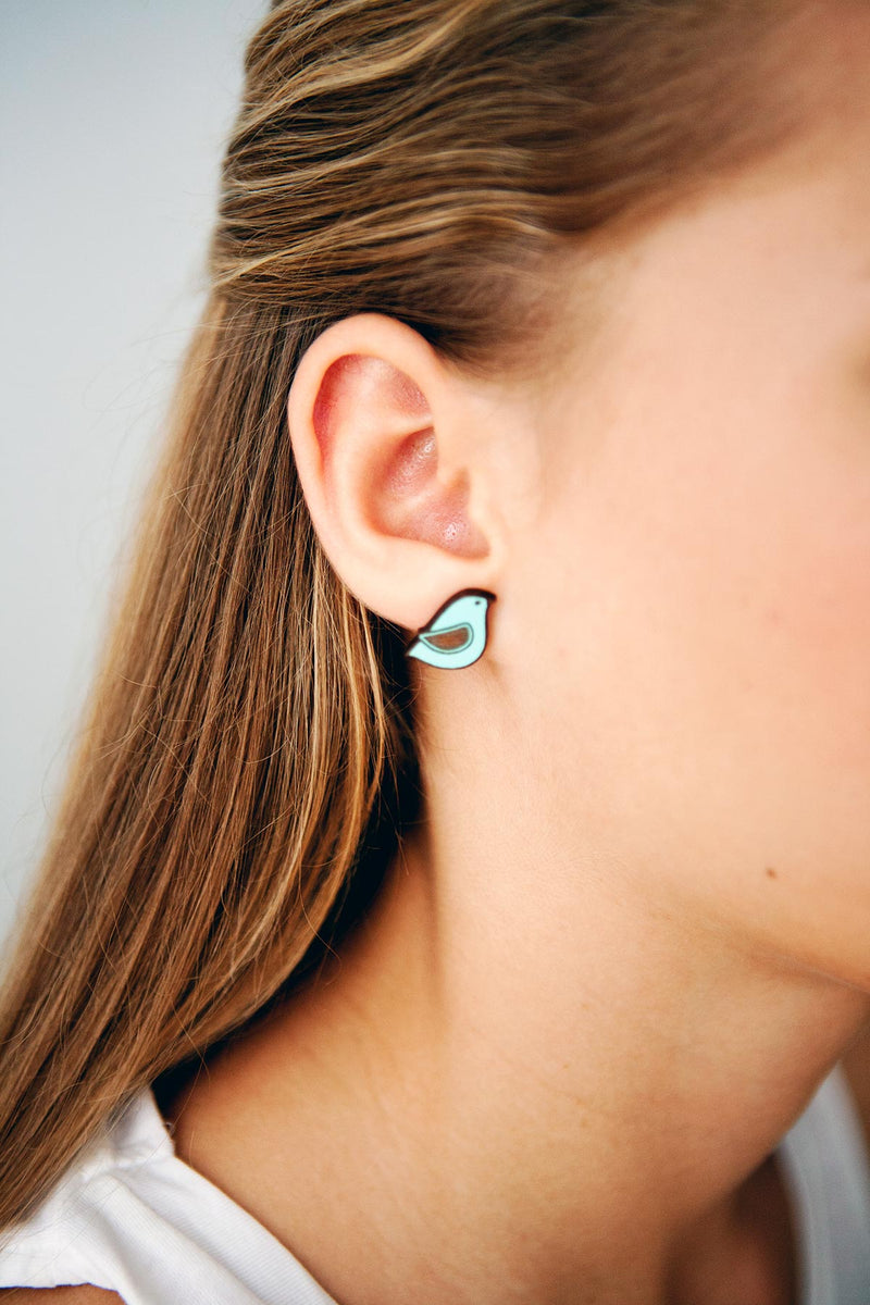 Stud Wooden Earrings Hand-Painted Blue Dove Materia Rica