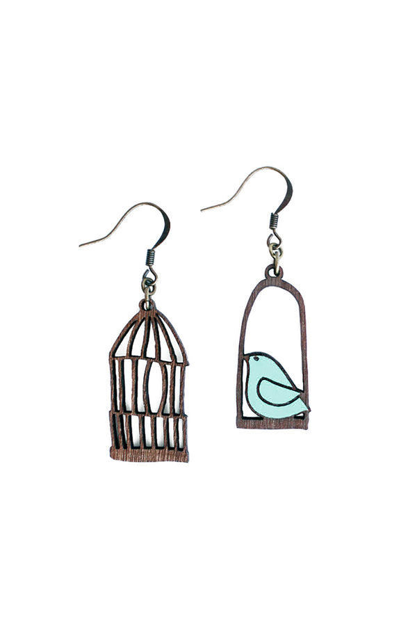 Drop Hook Wooden Earrings Hand-Painted Blue Freedom Materia Rica