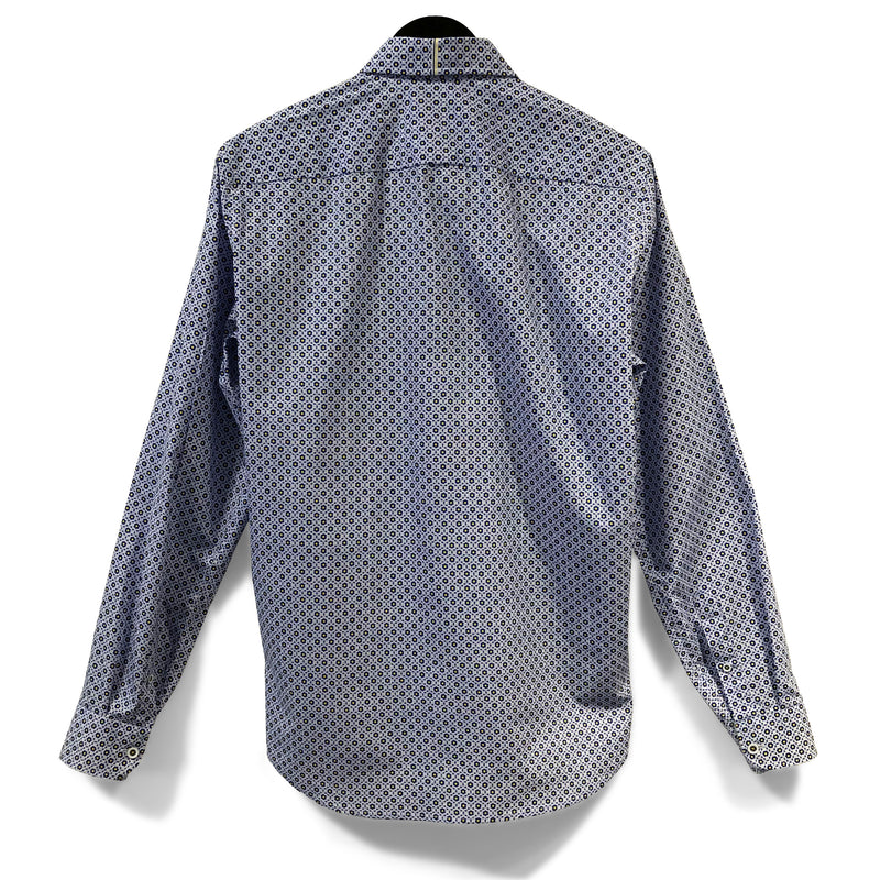COTTON SHIRT - BLUE & YELLOW MOSAIC