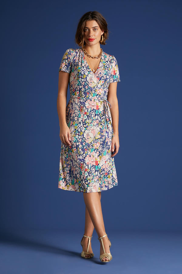 Capitola Dutch Blue Midi Casual Summer Dresses | Occassion Party Dress