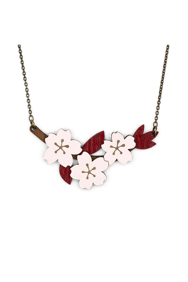 Natural Jewellery Chain & Wooden Necklace Hand-Painted Cherry Blossom