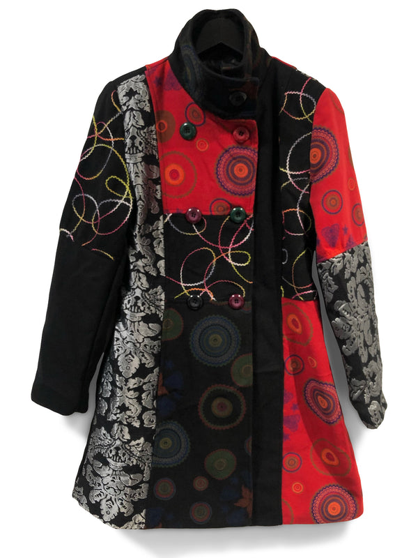 Chunky Buttons Patchwork Coat Front