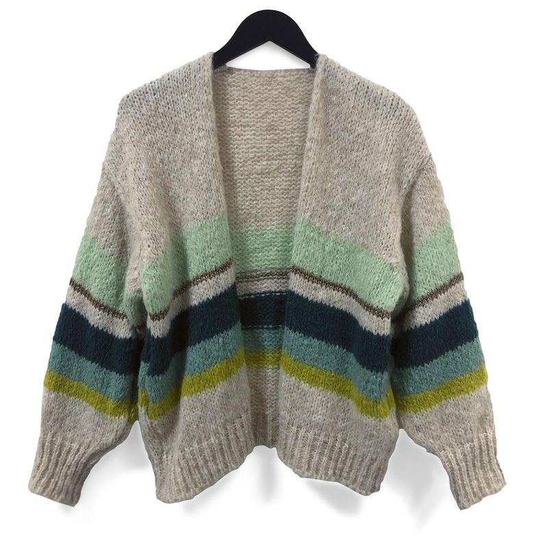 Chunky Mohair Cardi - Green Stripes