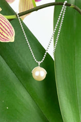 Cream Pearl Pendant Sterling Silver Necklace Natural Gemstones Handmade