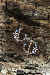 Dainty Crystal Stud Earrings - Double Hoops