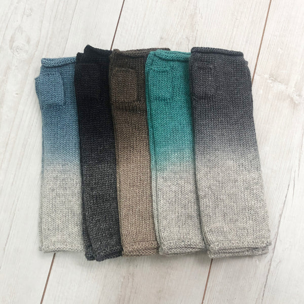 Ombre Dye Merino Fingerless Gloves
