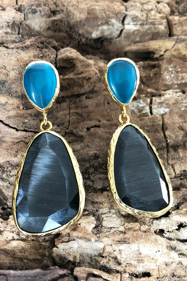 Teal and Charcoal Double Drop Statement Earrings