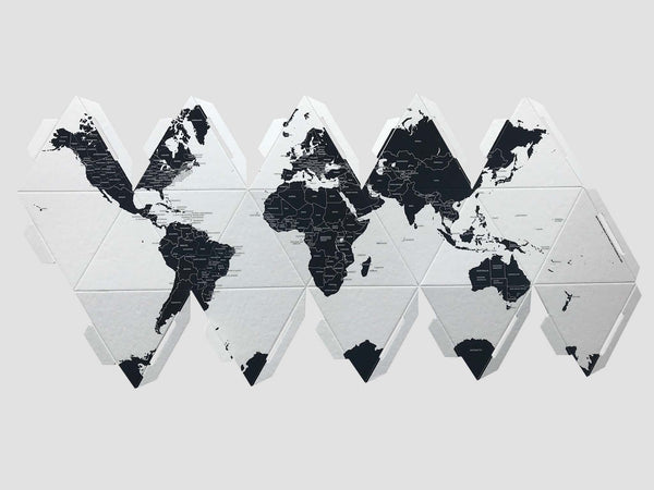 Globe by countries. Cardboard, monochrome design