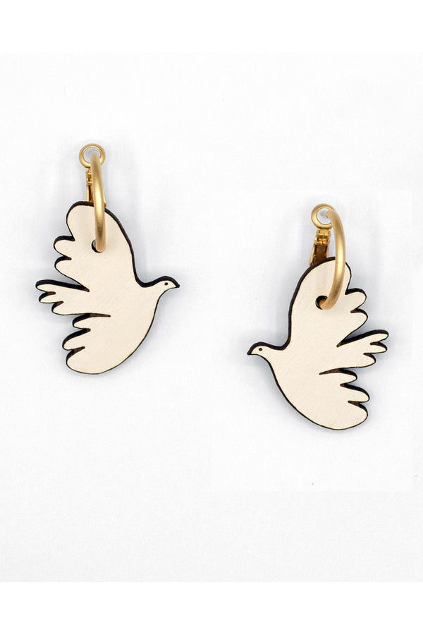 Drop Hoop Wooden Earrings Hand-Painted Kissing Doves Materia Rica