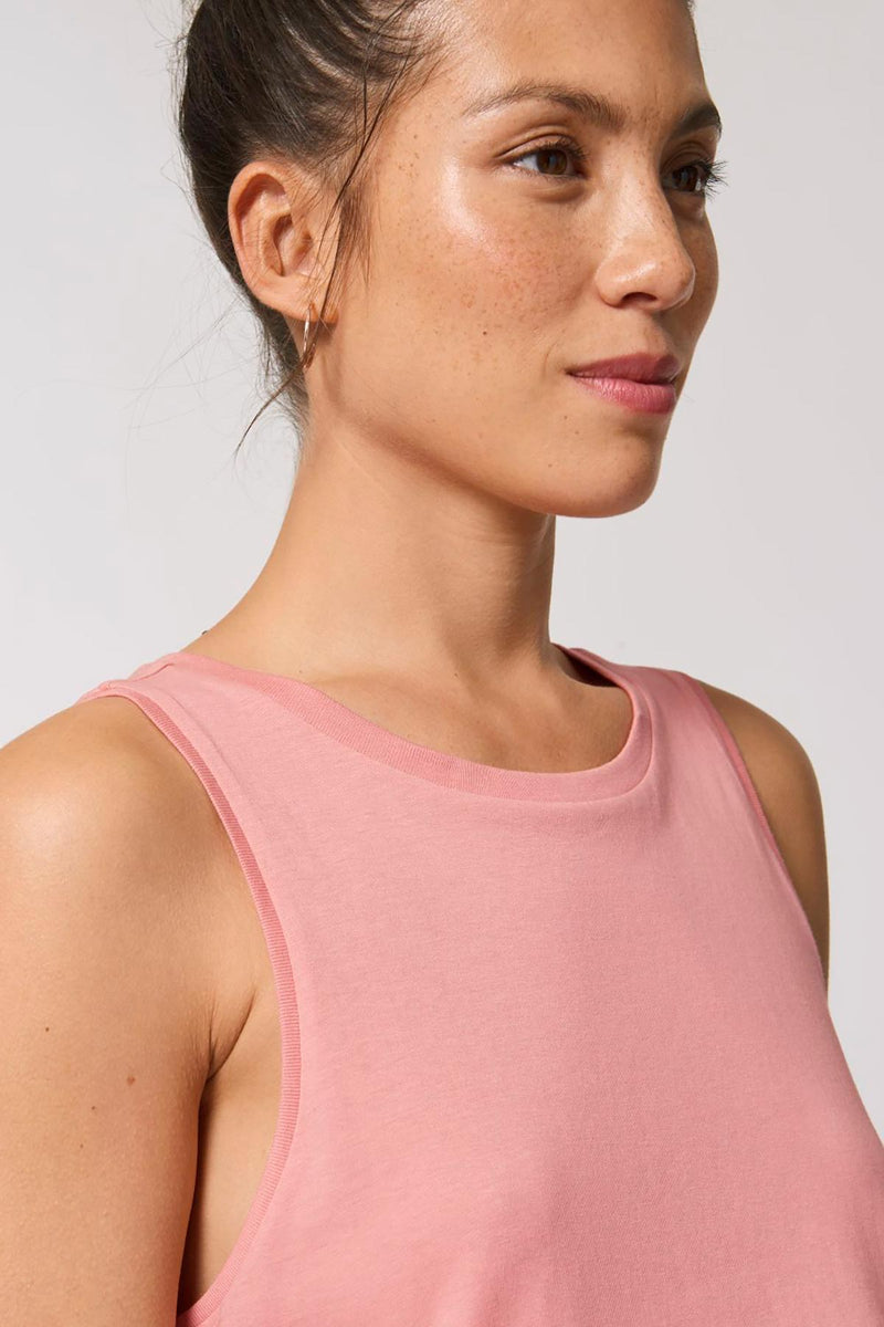 Ethical Women's Organic Cotton Cropped Tank Top Vegan Fairtrade & Sustainable Canyon Pink