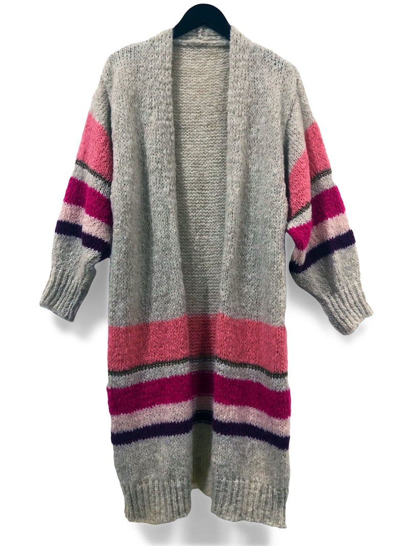Long Chunky Mohair Cardi - Pink Stripes