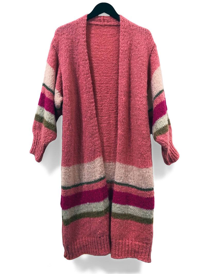 Long Pink Chunky Mohair Cardi - Pink Stripes