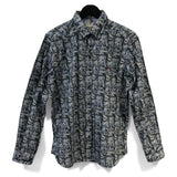 Monochrome Urban Landscape Long Sleeve Cotton Shirt