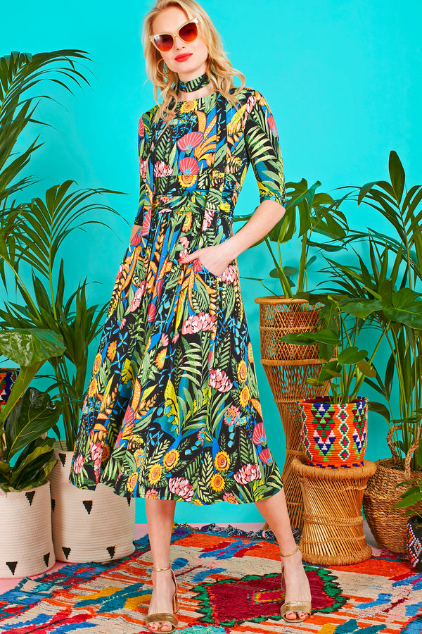 Night Flowers Boat Neck Midi Dress With Pockets