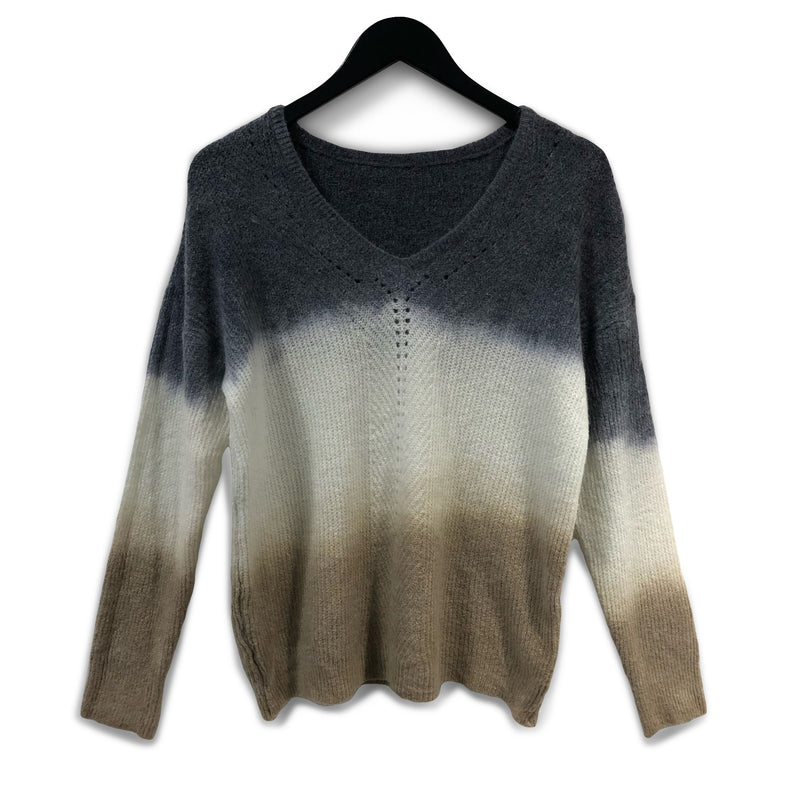 Ombre dye alpaca + wool jumper - Brown & Grey