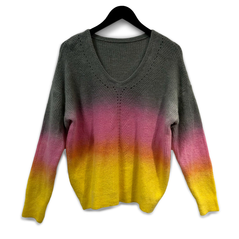 Ombre dye alpaca + wool jumper - Pink & Yellow
