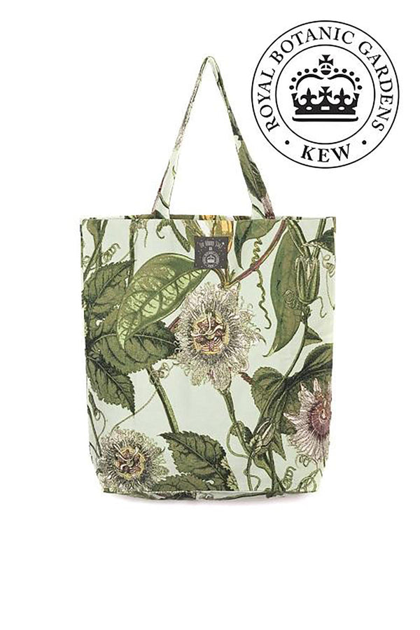 Luxurious Canvas Carry Bag OHS x Kew RBG Passion flower Aqua