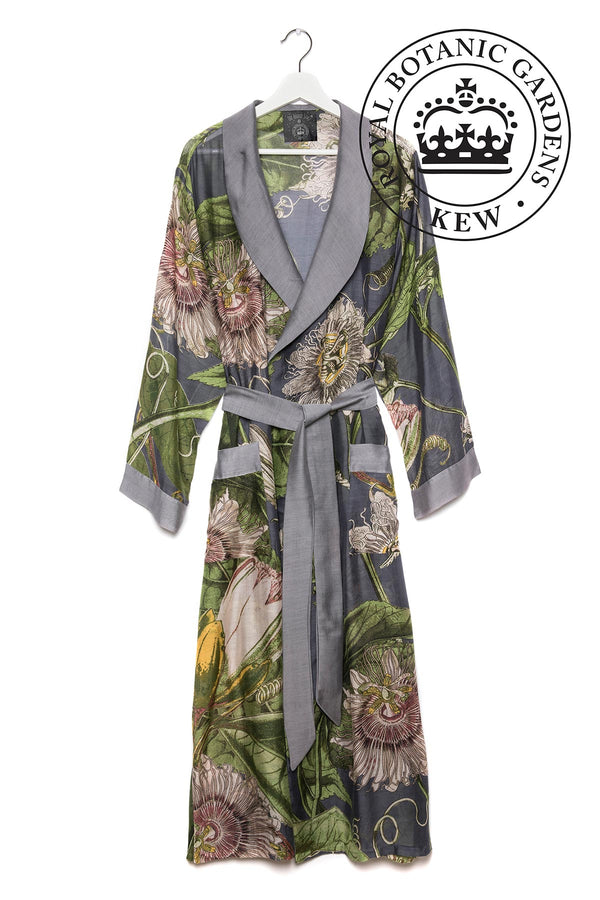 Luxurious Modal and Viscose Dressing Evening Gowns OHS x Kew RBG Passion Flower Grey