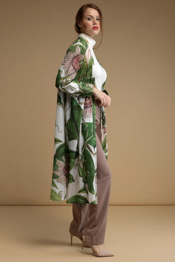 Luxurious Modal and Viscose Evening Duster Coat OHS x Kew RBG Passion Flower White