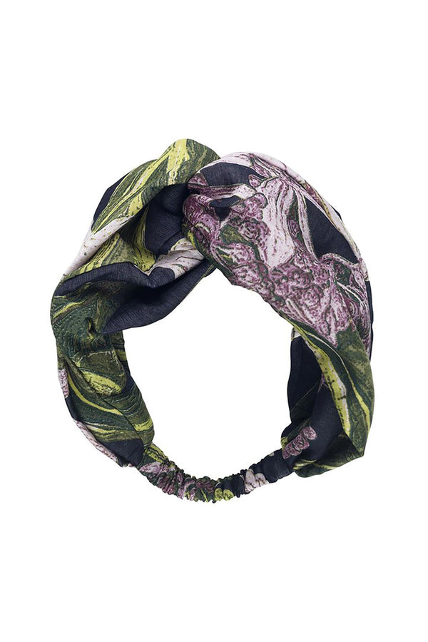 Luxurious Modal and Viscose Headbands OHS x Kew RBG Marianne North Medinilla Black
