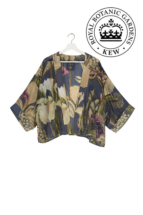 Modal and Viscose Women's Kimono Jacket OHS x Kew RBG Iris Blue