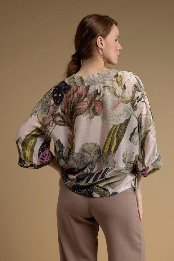 Luxurious Modal and Viscose Women's Kimono Jacket OHS x Kew RBG Iris Blush