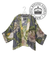 Modal and Viscose Women's Kimono Jacket OHS x Kew RBG Passion Flower Grey