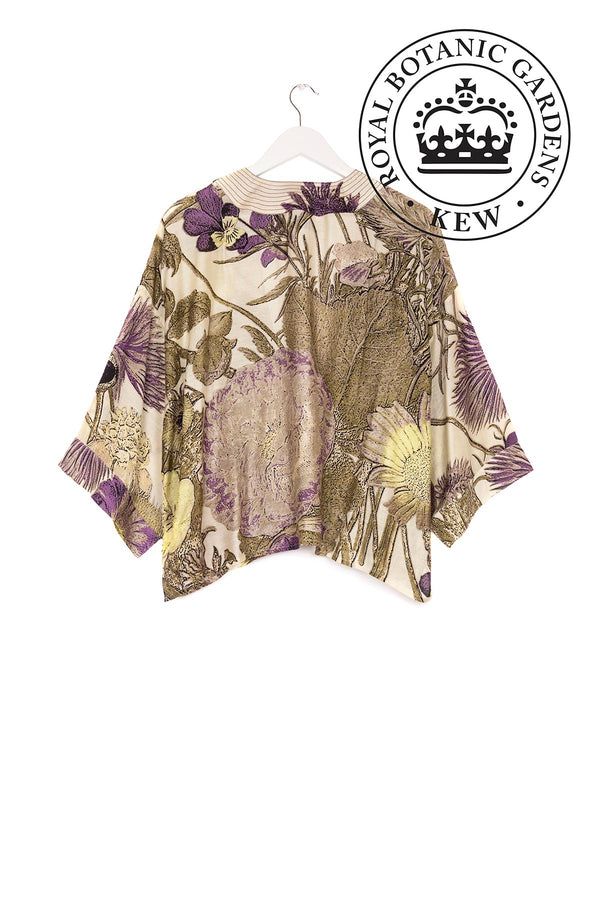 Luxurious Modal and Viscose Women's Kimono Jacket OHS x Kew RBG Thistle Purple