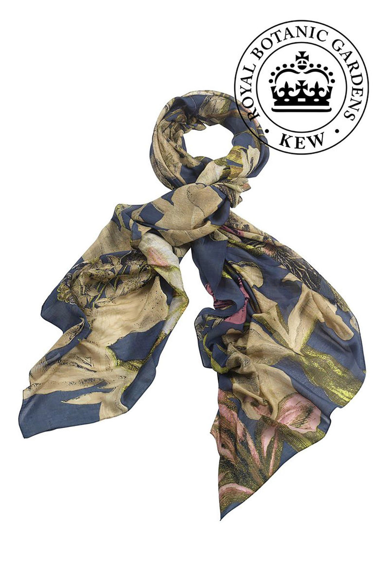 Luxurious Modal and Viscose Scarves OHS x Kew RBG Iris Blue