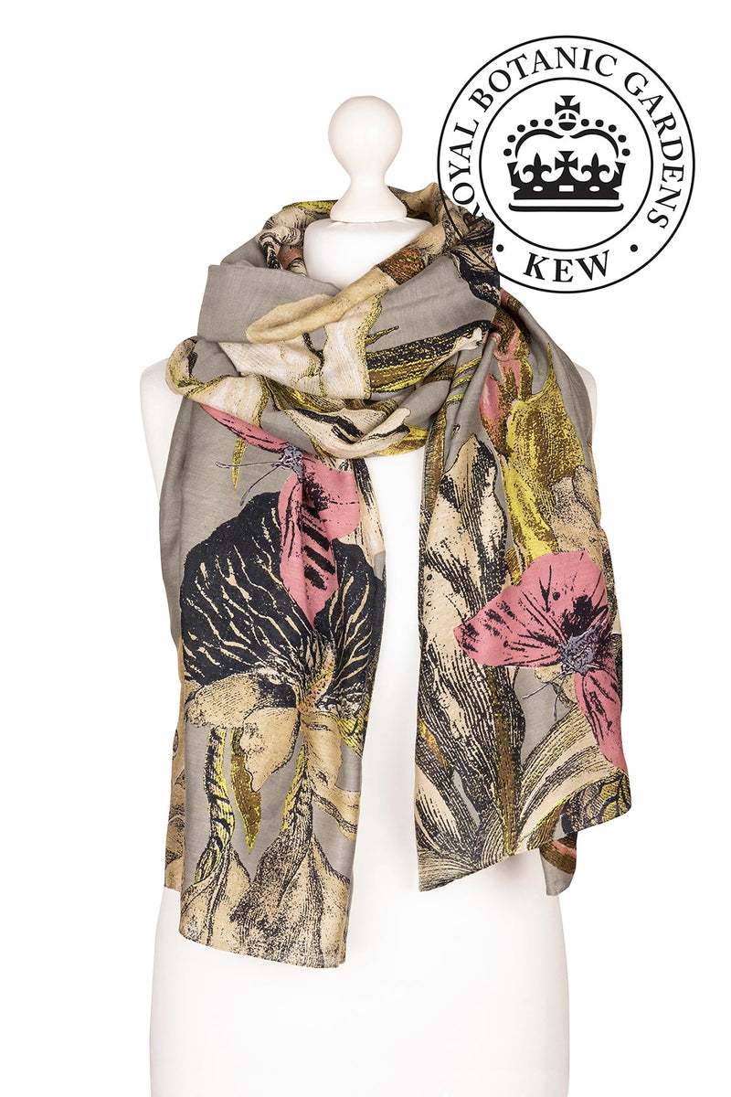 Luxurious Modal and Viscose Scarves OHS x Kew RBG Iris Grey