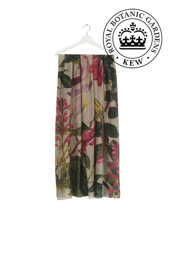 Luxurious Modal and Viscose Scarves OHS x Kew RBG Magnolia Stone