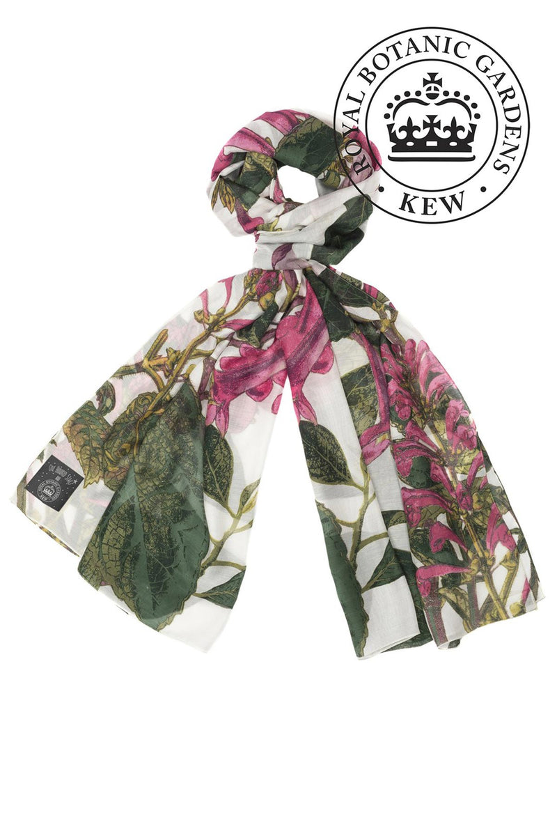 Luxurious Modal and Viscose Scarves OHS x Kew RBG Magnolia White