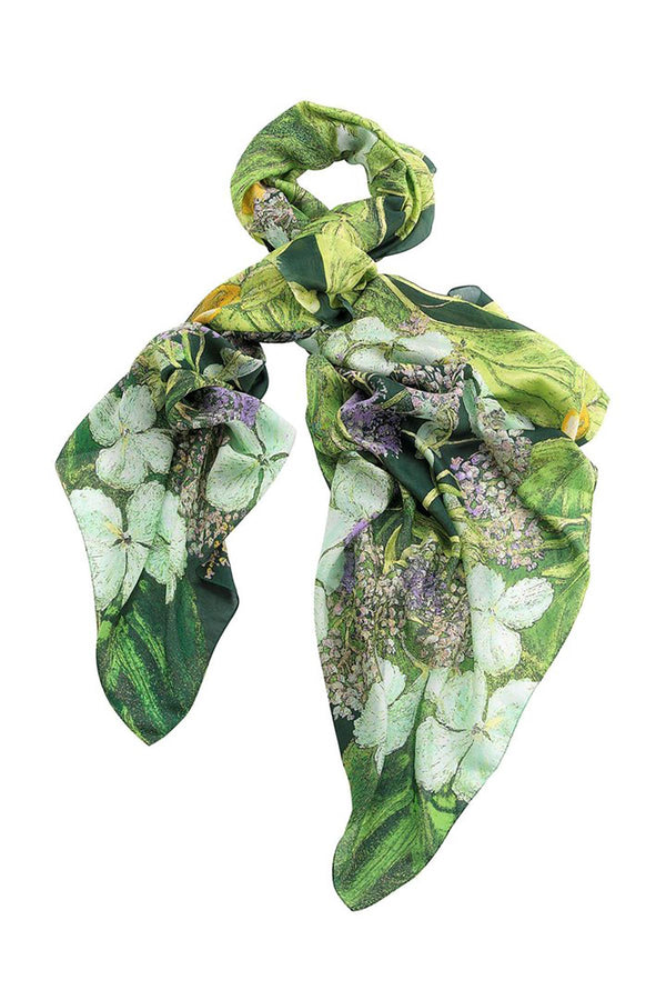 Luxurious Modal and Viscose Scarves OHS x Kew RBG Marianne North Hydrangea Lime Green