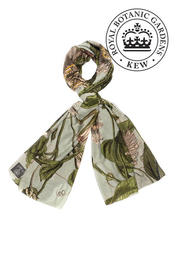 Luxurious Modal and Viscose Scarves OHS x Kew RBG Passion Flower Aqua