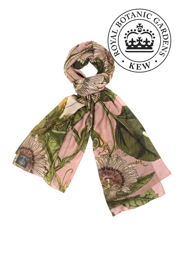 Luxurious Modal and Viscose Scarves OHS x Kew RBG Passion flower Pink