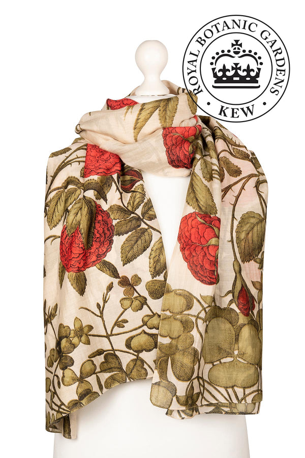 Luxurious Modal and Viscose Scarves OHS x Kew RBG Rosebush Red