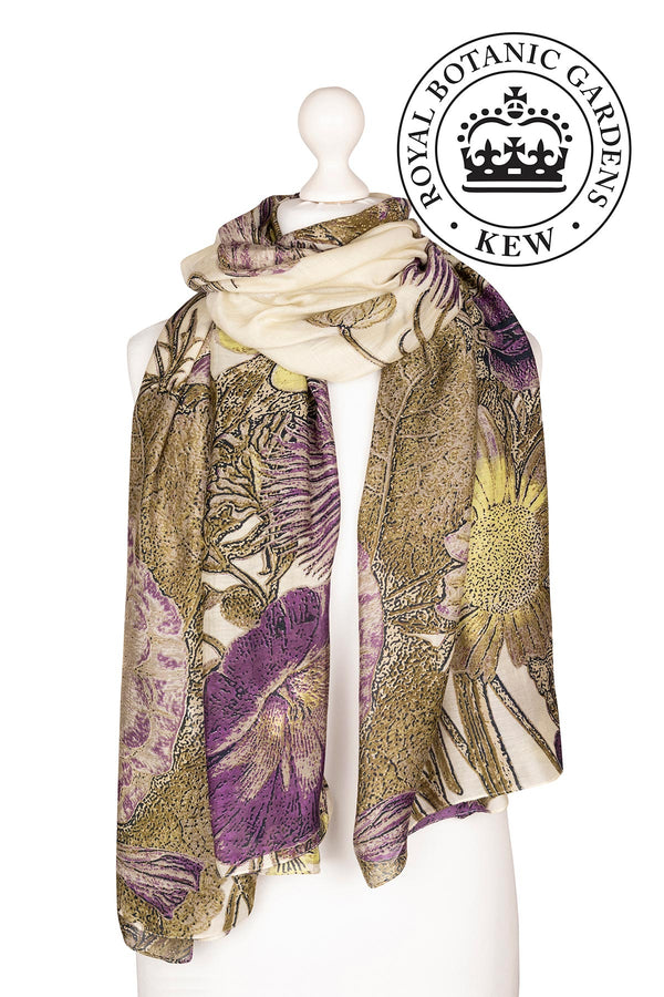 Luxurious Modal and Viscose Scarves OHS x Kew RBG Thistle Purple