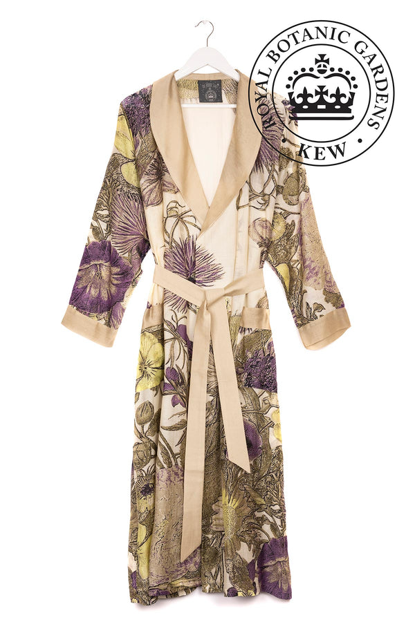 Luxurious Modal and Viscose Dressing Evening Gowns OHS x Kew RBG Thistle Purple