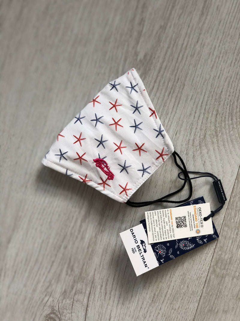Protective cotton face mask - Denim & Pink Starfish