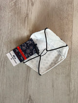 Protective cotton face mask - White & Navy Geometric mosaic