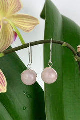 Rose Quartz Natural Gemstone Handmade Drop Sterling Silver Earrings