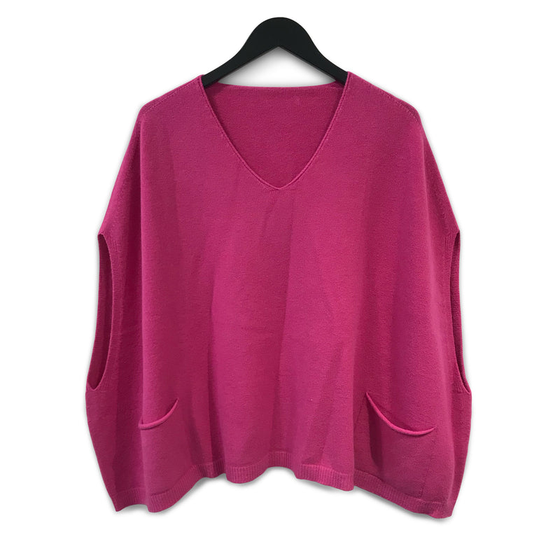 Sleeveless, seamless poncho with pockets - Pink
