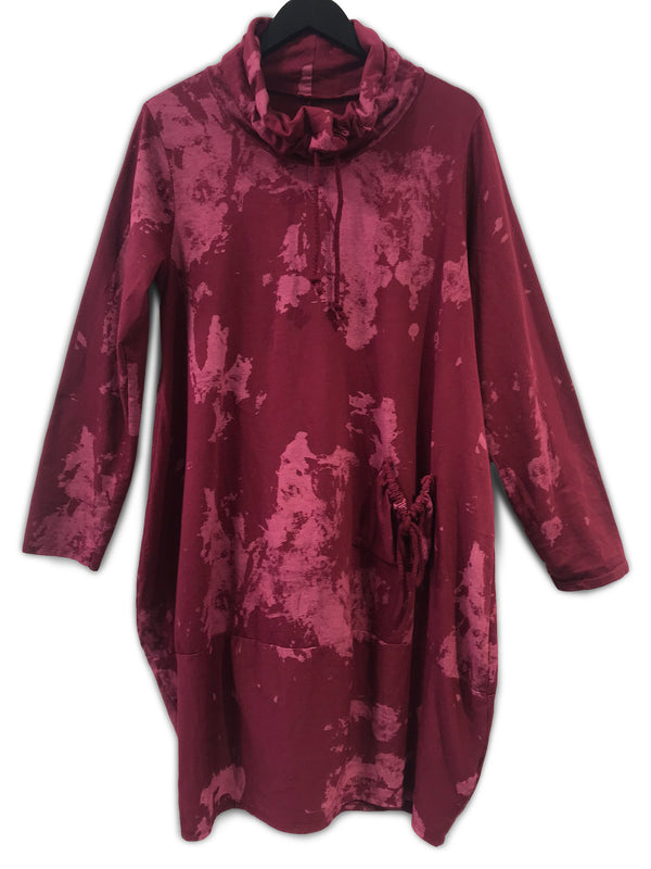 Sweater Dress With Pockets Burgundy