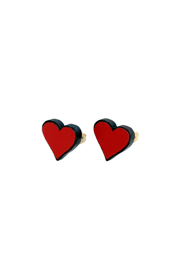 Stud Wooden Earrings Hand-Painted Sweet Hearts Materia Rica