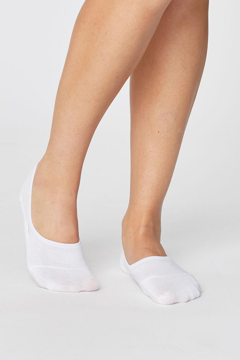 Bamboo and Organic Cotton No Show Socks White - Bamboo Clothes