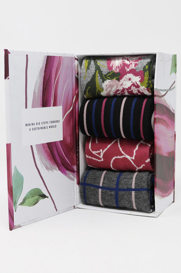 Organic Cotton Socks Gift Box for Her Floral - Organic Socks
