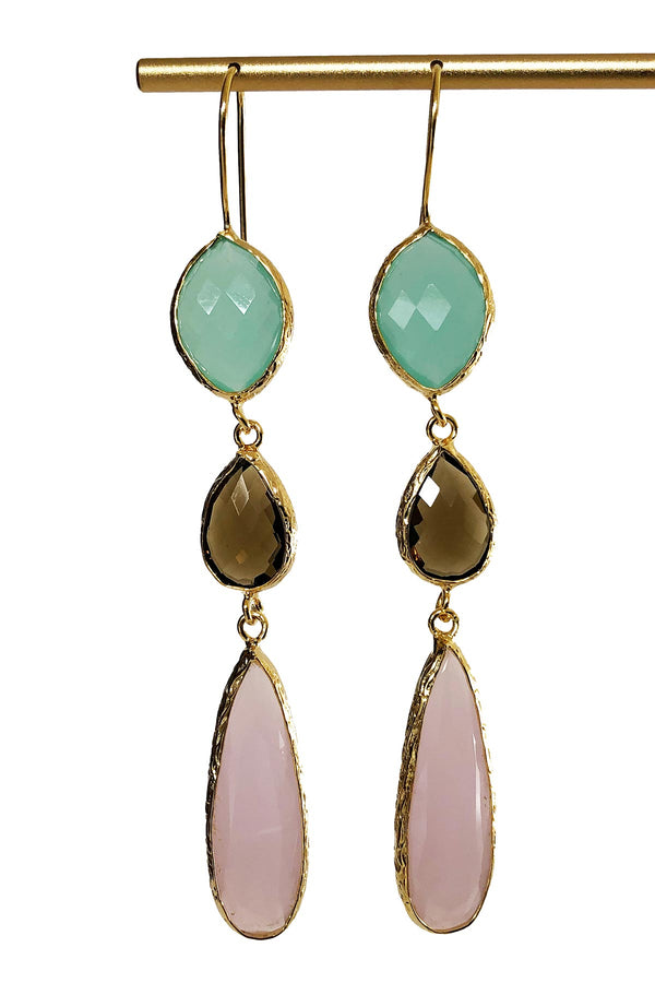 Aqua Smokey and Rose Quartz Statement Earrings - Handcrafted in Turkey