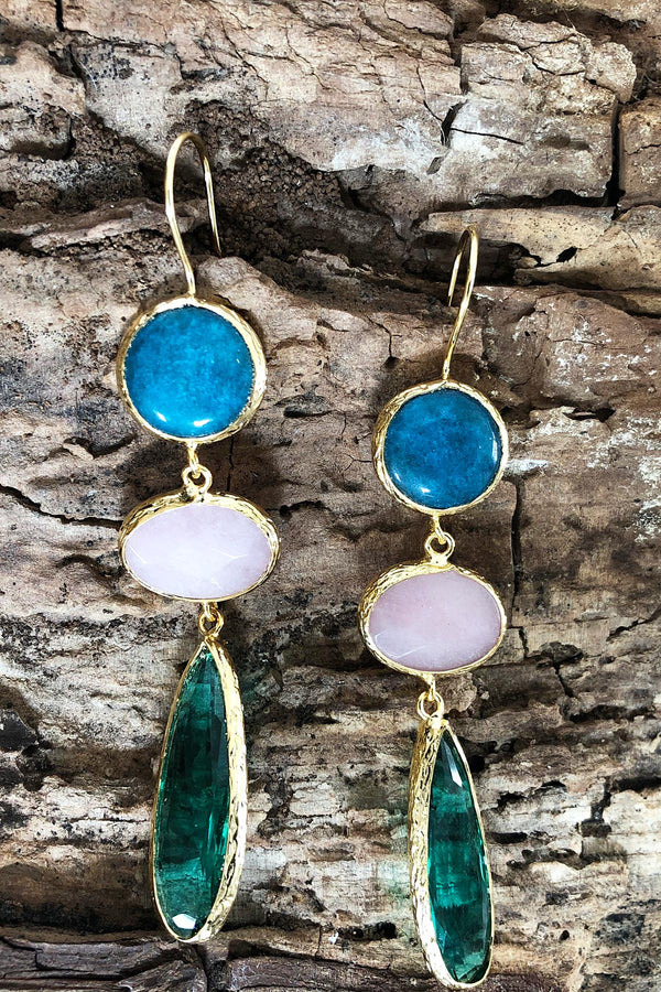 Teal Pink and Emerald Statement Earrings Handcrafted in Turkey
